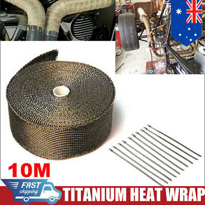 TITANIUM HEAT WRAP 10M X 50mm + 10 TIES EXHAUST INSULATING DOWNPIPE MANIFOLD #
