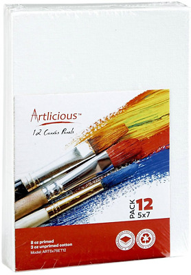 Artlicious Canvas Panels 12 Pack - 5 inch x 7 inch Super Value Pack- Artist for