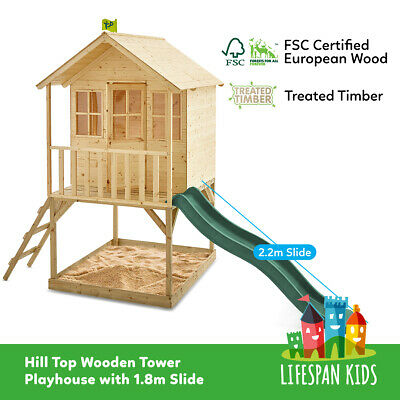 NEW TP Toys Hill Top Timber Wooden Cubby House Play Centre with Slide
