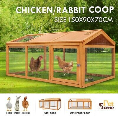 Petscene Wooden Chicken Coop Rabbit Hutch Cage Guinea Pig House Enclosures