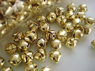 """50 Small Craft 3/8"""" Jingle Bell 8mm Christmas/embellishment/ornament/bow M8-Gold"""