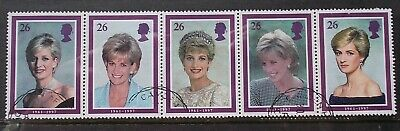SG 2021a 3Feb 1998 Se-tenant strip of 5 stamps - Diana, Princess of Wales