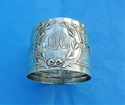 ELKINGTON & Co - Antique REPOUSSE STERLING SILVER NAPKIN RING - 1912
