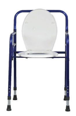 Foldable Adult Toilet Seat Potty Commode Chair Bedside Bariatric Drop Arm Safety