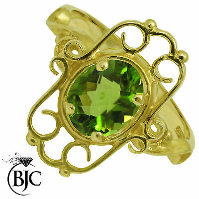 BJC® 9ct Yellow Gold Peridot 1.00ct Victorian Style Size O Engagement Ring R151