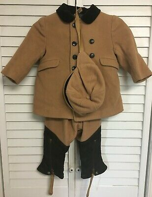 Vintage Brown Early Boys Wool Coat Pants Chaps & Hat Outfit Snow Suit Clothing