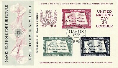 1975 - Great Britain - Stampex United Nations Miniature Sheet, Used