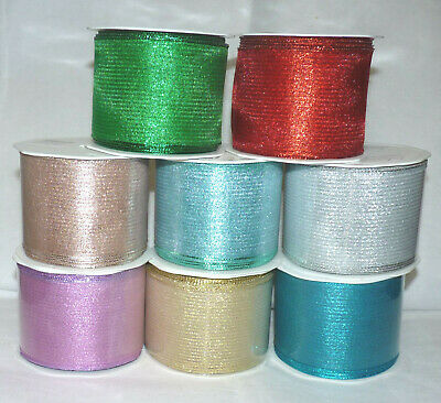 Fine Deco Mesh Net Metallic Colour Wired Ribbon(2) # 63Mm #Crafts/Cake/Floral
