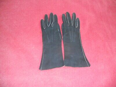 Vintage 1940-1950 dark blue SUEDE LADIES GLOVES by DENTS England size 6 1/4