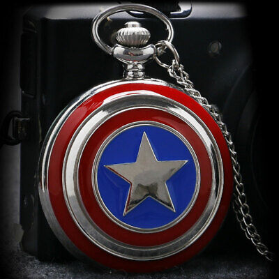 Antique Quartz Pocket Watch Captain America Pattern Arabic Numerals Dial Chain