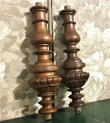 To make wooden lamp foot candlestick Pair antique french walnut spindle column