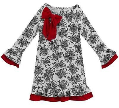 """NEW Rare Editions Girls """"BLACK WHITE TOILE RED BOW"""" Size 10 CHRISTMAS Dress NWT"""