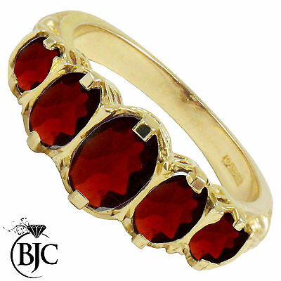 BJC® 9ct Yellow Gold Victorian / Gypsy Style Graduating Garnet 5 Stone Ring