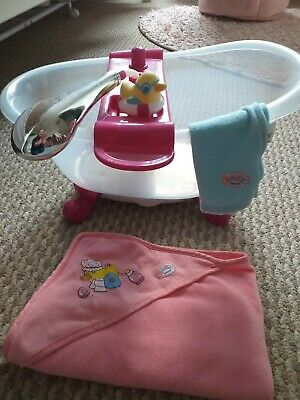 zapf creation,baby born interactive,bath with shower,lights,sounds,accessories