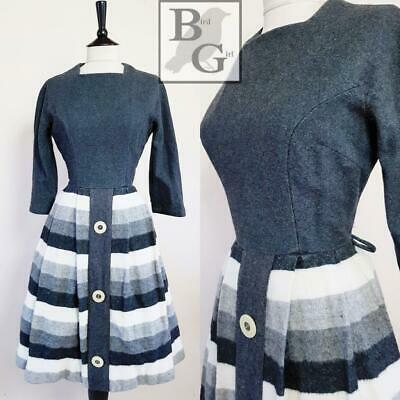 Original 1950S Vintage Grey Striped Wool Big Button Swing Day Dress 8 Xs