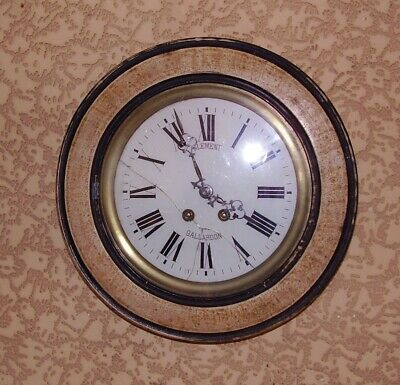 ANTIQUE WALL CLOCK SCHOOL STATION CLOCK FRENCH WORKING 4 SMALL RESTORATION c1890