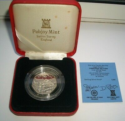 SILVER PROOF 1988 ISLE OF MAN CHRISTMAS 50p COIN IN CASE - UNC IoM MANX XMAS CoA