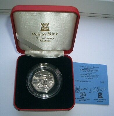 SILVER PROOF 1989 ISLE OF MAN CHRISTMAS 50p COIN IN CASE - UNC IoM MANX XMAS CoA