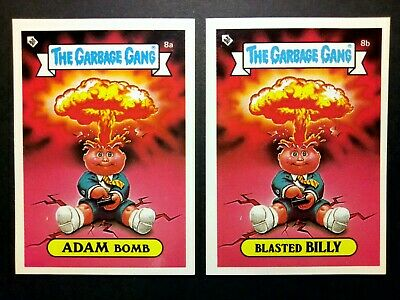 The Garbage Gang/Garbage Pail Kids Topps S1 Adam Bomb 8a/Blasted Billy 8b cards