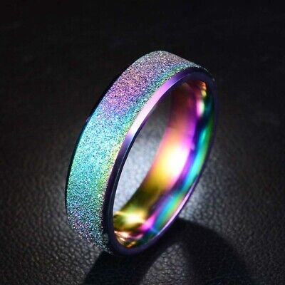 6MM Rainbow Color 6 CZ Stainless Steel Ring Comfort Fit Rings Size 5-10 SR113
