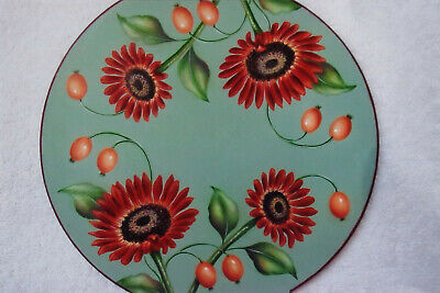 "Mary Svenson tole painting pattern ""Red Sunflower & Berries Lid"""
