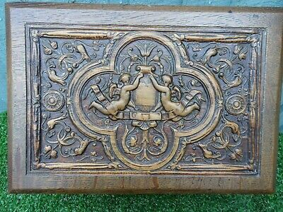 SUPERB GOTHIC 19thC WOODEN OAK BOX: WINGED ANGELS, OTHER RELIEF CARVINGS c1880s