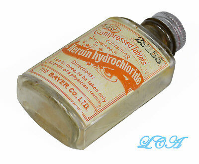 Antique BAYER HEROIN TABLETS bottle 1st style used w/ Bayer cross - 1904