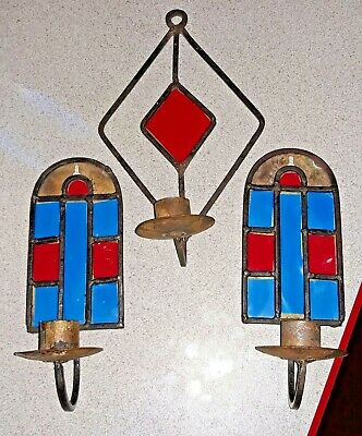 3 Pc Lot Vintage Wall Sconces Primitive Hand Made Wrought Iron Candle Holders