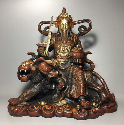 """11.02"""" Old Chinese Antique Red Copper Gilt Zhao Gongming, god of wealth statue"""