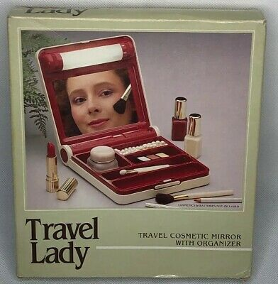 Travel Lady Lighted Make-Up Mirror with Organizer, Vintage