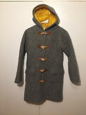 jl Mini Boden Girls Gray Wool Quilted Mustard Lined Toggle Peacoat Coat 11-12 Y