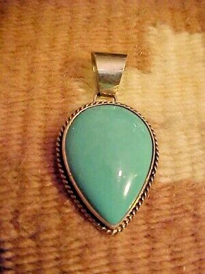 Gorgeous Hand Made Sterling Silver & Blue/Green Turquoise Pendant, Signed R