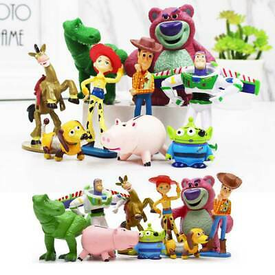 9PCS Toy Story Woody Buzz Jessie Dinosaur Lotso Action Figure Cake Toppers Toys