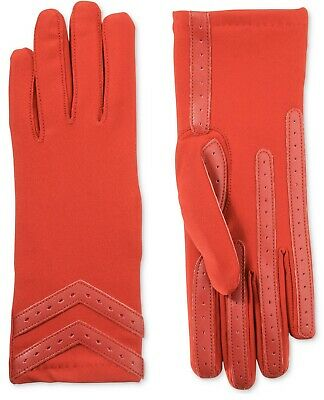 Isotoner Women's Chevron Spandex Stretch Touchscreen Gloves, Red, S/M (A11-26)
