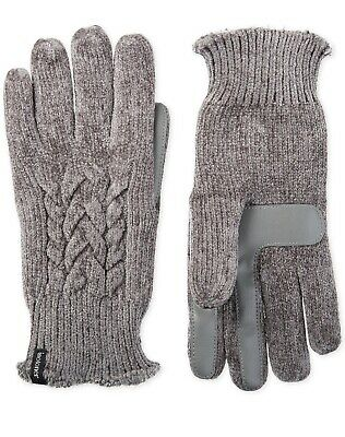 Isotoner Women's Touchscreen Chenille Cable-Knit Gloves, Gray, One Size (A11-38)