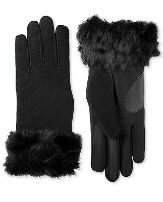 Isotoner Women Touchscreen Wool & Spandex Gloves w/ Faux Fur, Black, S/M (A11-40