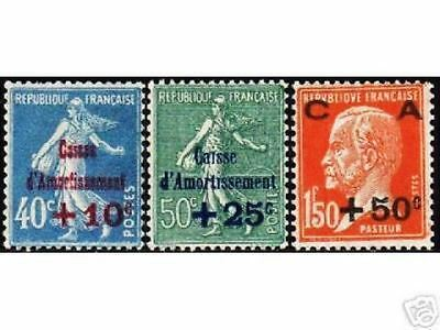 """FRANCE STAMP TIMBRE YVERT N° 246 / 248 """" CAISSE AMORTISSEMENT 1927 """" NEUFS x TB"""