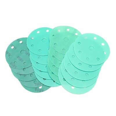 20Pcs 5 Inch Green Sand Polyester Sandpaper 9-Hole Dry and Wet Disc Sandpap J1G6