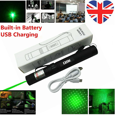 1MW 900Mile Rechargeable Green Laser Pointer Pen 532nm Visible Beam+USB UK Stock
