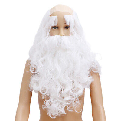 Deluxe Long Santa Claus Cosplay Props White Wizard Wig Beard Hair Costume Fancy