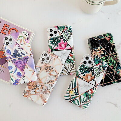For iPhone 11 Pro Max XS XR X 7 8 6 Luxury Flower Marble Plating Soft Case Cover