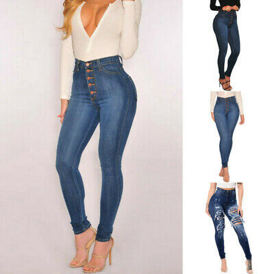 Women High Waist Skinny Denim Jeans Stretch Slim Trousers Pencil Pants Jeans UK