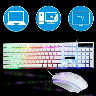 USB Gaming Keyboard Mouse Set Rainbow RGB LED Backlit Wired For PC Laptop PS4 UK