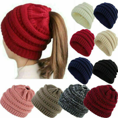 Womens Beanie Tail Messy Bun Hat Ponytail Stretchy Knitted Crochet Skull Cap Sd