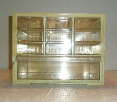Vintage AKRO-MILS Notions Storage Cabinet Hard Plastic 10 Drawers