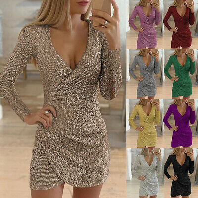 Womens Sequin Dress Bodycon Cocktail Wrap V Neck Evening Party Ball Gown Dress