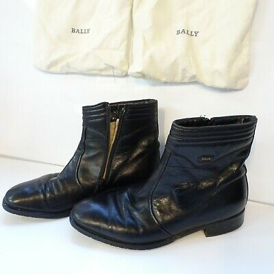 BALLY Leather Ankle Boots Chelsea Real Black Zip Soft Size 8 / 42 EU Men's 1B