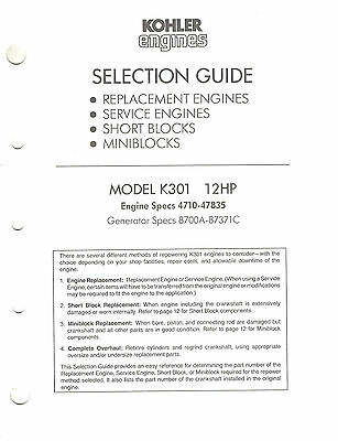Kohler K301  Replacement Eng. Selection  Guide