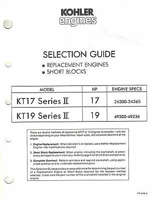 Kohler Kt17,19  Replacement Eng. Selection  Guide