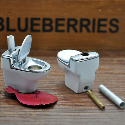 1pc Mini Pipe Metal Portable Creative Toilet Shape Smoking Pipe Herb Tobacco